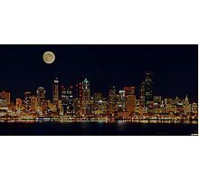 Full Moon Over Seattle Photographic Print
