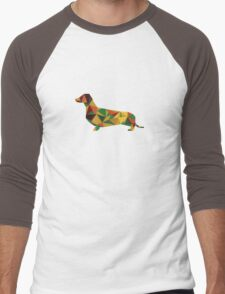 Dachshund - geometric Wiener! Men's Baseball ¾ T-Shirt