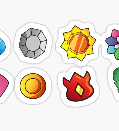 Kanto Gym Badges Sticker