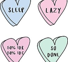 Lazy 4-Pack ♥ Sassy Conversation Hearts ♥ Trendy/Hipster/Tumblr Meme by Bratsy ♥