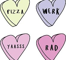 FAVORITE THINGS 4-PACK Sassy Conversation Hearts ♥ Trendy/Hipster/Tumblr Meme by Bratsy ♥