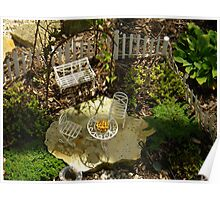 Fairy Garden With White Furniture and Pie Poster
