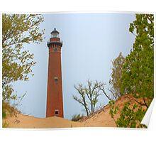 Lake Michigan Lighthouse at Dawn Poster