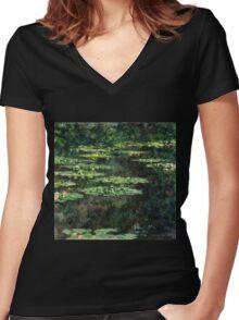 Claude Monet - Water-Lilies  Women's Fitted V-Neck T-Shirt