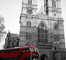 LONDON RED DOUBLE DECKER BUS WESTMINSTER ABBEY by Byzas