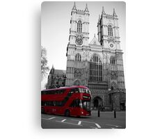 LONDON RED DOUBLE DECKER BUS WESTMINSTER ABBEY Canvas Print