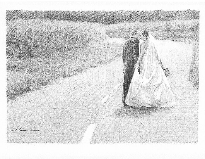 Bride and Groom down the road by Mike Theuer