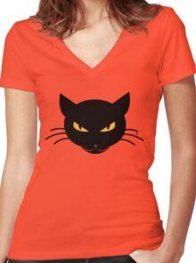 Evil Kitty Women's Fitted V-Neck T-Shirt