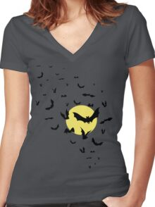 Bat Swarm Women's Fitted V-Neck T-Shirt
