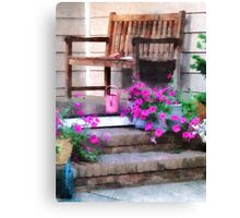 Pink Petunias and Watering Cans Canvas Print
