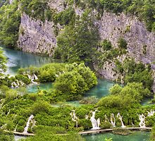 Lower falls in Plitvice lakes, Croatia. by cloud7