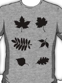 Bold Black Leaves Pattern T-Shirt