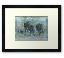 Chalk Elephants Framed Print