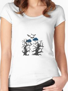 Dancing and smiling fantasy trees Women's Fitted Scoop T-Shirt