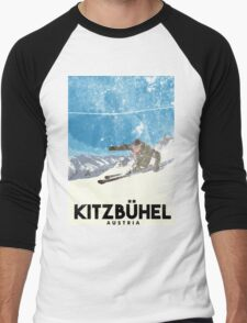 Ski Kitzbühel Austria (eroded) Men's Baseball ¾ T-Shirt