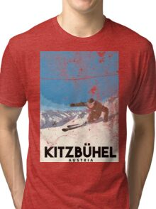 Ski Kitzbühel Austria (eroded) Tri-blend T-Shirt