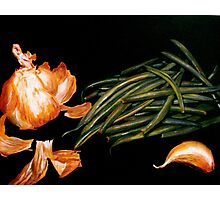Garlic and Green Beans... Photographic Print