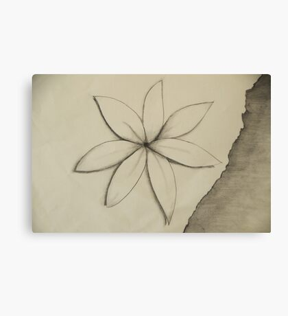 White flower on torn paper Canvas Print