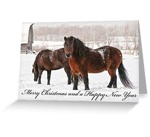Christmas Card - Horses in Field Greeting Card