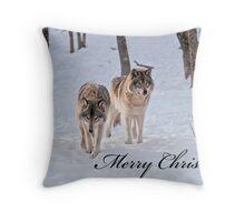 Christmas Card - Timber Wolf Throw Pillow