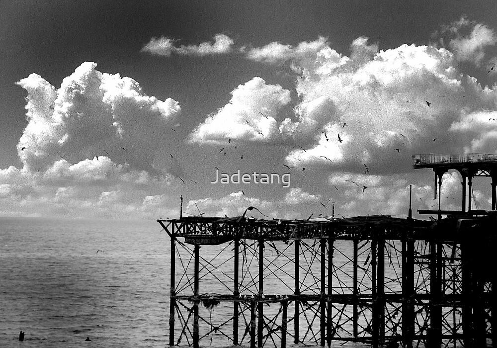 Burnt down Brighton Pier by Jadetang