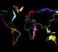 World Map Abstract Paint by ArtPrints