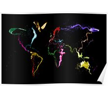 World Map Abstract Paint Poster