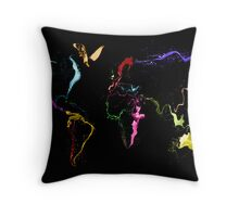 World Map Abstract Paint Throw Pillow