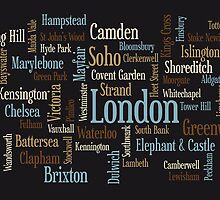 London Text Typographic Map by ArtPrints