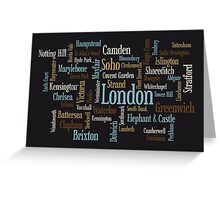 London Text Typographic Map Greeting Card