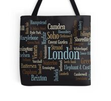 London Text Typographic Map Tote Bag