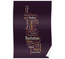 Manhattan New York Typographic Map Poster