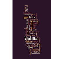 Manhattan New York Typographic Map Photographic Print