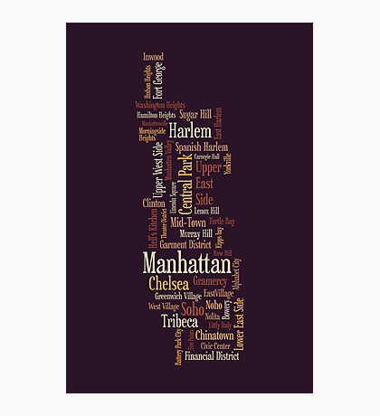 Manhattan New York Typographic Map Photographic Print