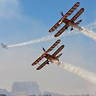 Wingwalking the blue sky by Tony Roddam