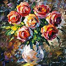 LOVELY FLOWERS - original oil painting on canvas by Leonid Afremov by Leonid  Afremov