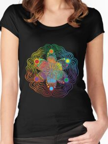 Black Background with 6 Color Design Women's Fitted Scoop T-Shirt