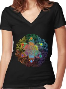Black Background with 6 Color Design Women's Fitted V-Neck T-Shirt
