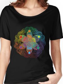 Black Background with 6 Color Design Women's Relaxed Fit T-Shirt