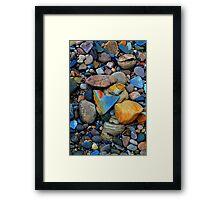 River Gravels and Rocks, River Tees, England Framed Print