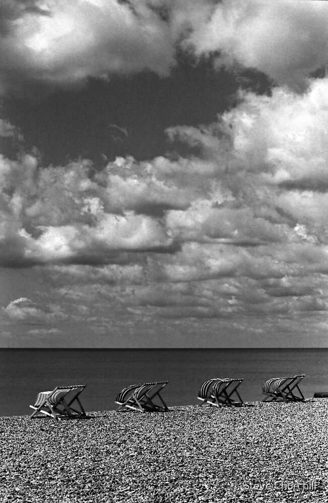 Brighton Beach - Monochrome Deck Chairs by Steve Churchill