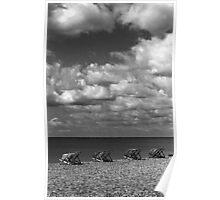 Brighton Beach - Monochrome Deck Chairs Poster