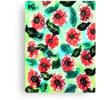 Wall paper of flowers, watercolor Canvas Print