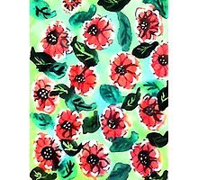 Wall paper of flowers, watercolor Photographic Print