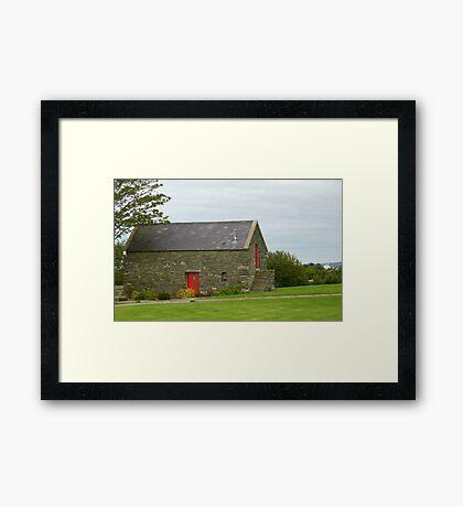 Irish Barn Conversion with Red Doors Framed Print