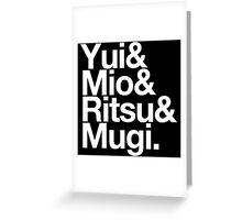 Ho-kago Tea Time - K-On goes Helvetica Greeting Card