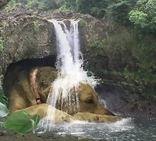 Giant Dog laying under Rainbow Falls by emxacloud