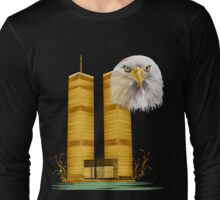 Gold Twin Towers and Eagle Long Sleeve T-Shirt