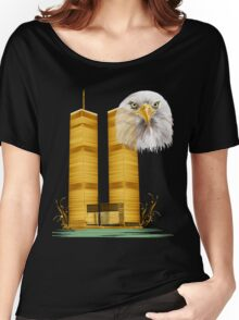 Gold Twin Towers and Eagle Women's Relaxed Fit T-Shirt