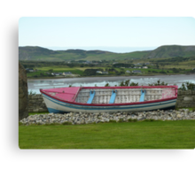 A Retired Boat Beside The Water Canvas Print